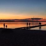 solnedgång brygga